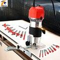 Aletler'ten Elektrik Düzelticiler'de El oyma makinesi elektrikli düzeltici ahşap 220V ab tak 30000rpm ahşap yönlendirici kırpma deri ağaç İşleme DIY matkap güç araçları
