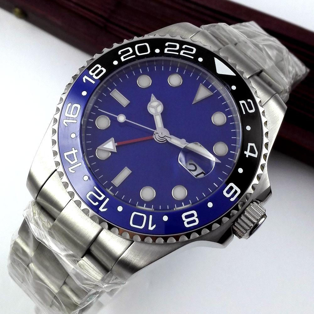 New 43mm Bliger Blue Dial GMT Sapphire Glass ceramic bezel Luminous Marks Date Deployment clasp Automatic Movement Men's Watch цена