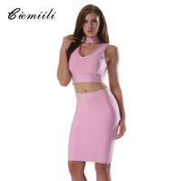 CIEMIILI 2017 Sexy Women Spring New Bandage Dress 2 Two Piece Set Evening Party Bodycon V