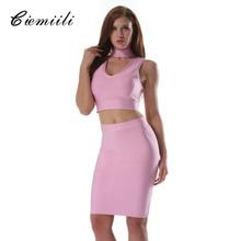CIEMIILI 2018 Sexy Women Summer Dress Club Wear Dress 2 Two Piece Set Pink Black Blue Bodycon V-neck Vestidos Bandage Dresses