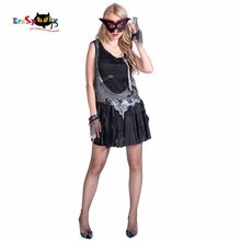 3f2215120bb4 Zombie Rock Girl 3 Piece Dress Mask Glove Suit Hollow Out Mini Dress Mesh  Women Party Cosplay Female Halloween Costume 2017