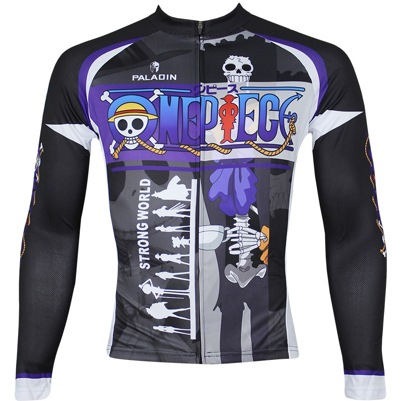 One Piece Brook Bicycle Jersey Black Cartoon Bike jerseys for boys 3xl Long Sleeve Bike Clothes