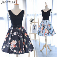 JaneVini Short Bridesmaid Dresses Satin V Neck Floral Print Bow Sashes Backless A Line Formal Prom Gowns Vestidos Para Formatura