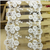 30 Yards New White Lace Ribbon 12cm Cotton Lace Trim Ribbon Embroidered Lace Venice Floral Wide Scallop Bridal Lace Wedding