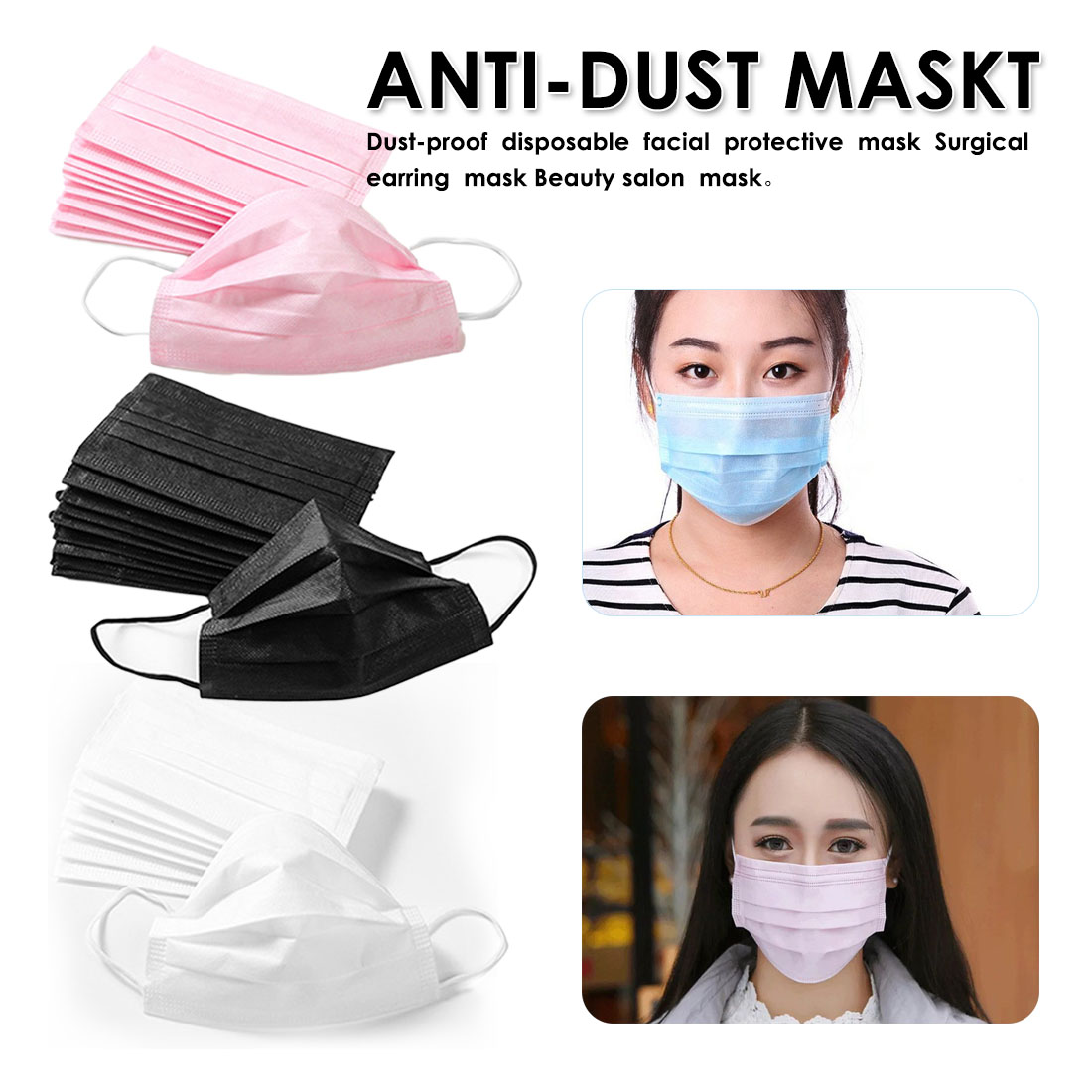 20Pcs 3 Layers Dustproof Facial Protective Cover Masks Anti-Dust Disposable Surgical Medical Salon Earloop Face Mouth Masks