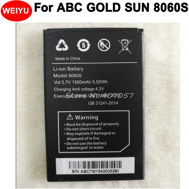 US $5 38 11% OFF|1500mAh Battery For ABC GOLD SUN 8060S Accumulator High  Quality-in Mobile Phone Batteries from Cellphones & Telecommunications on
