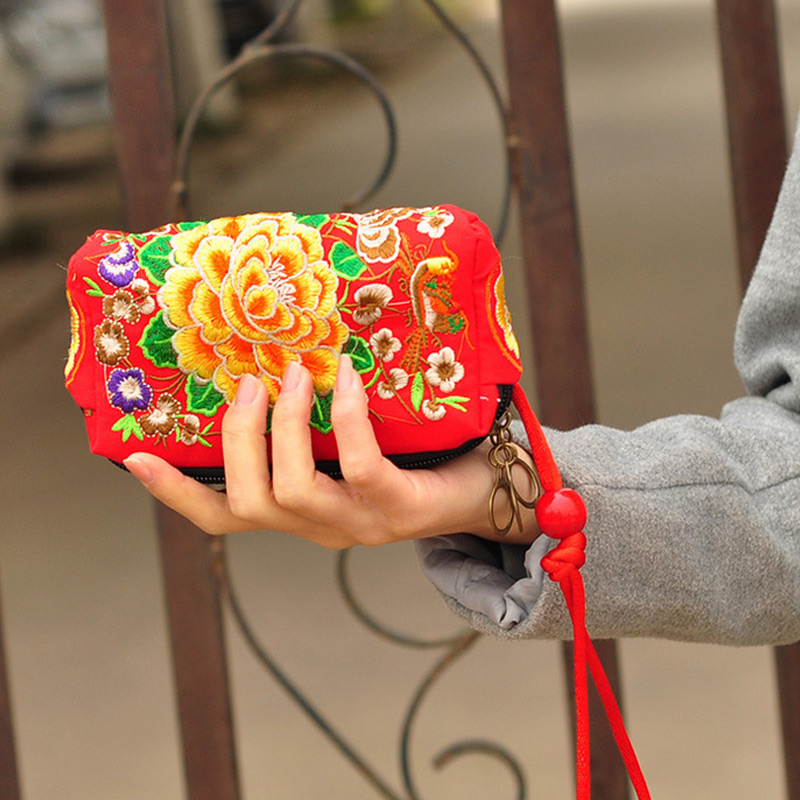 Purse Wallet Embroidered Makeup-Bags Coin-Clutch Zipper Vintage Ethnic LT88 Floral Chinese