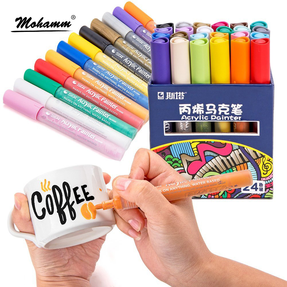 24 Colors STA Acrylic Paint Markers Mark Clearly on All Surfaces Water Based Ink Non-Toxic Odorless Acid Free