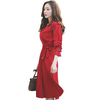 Ветровка красное платье Женский 2018 Осенняя мода Длинные рукава плиссе Mujer Vestiti Donna Корея ретро Дизайн Vestidos