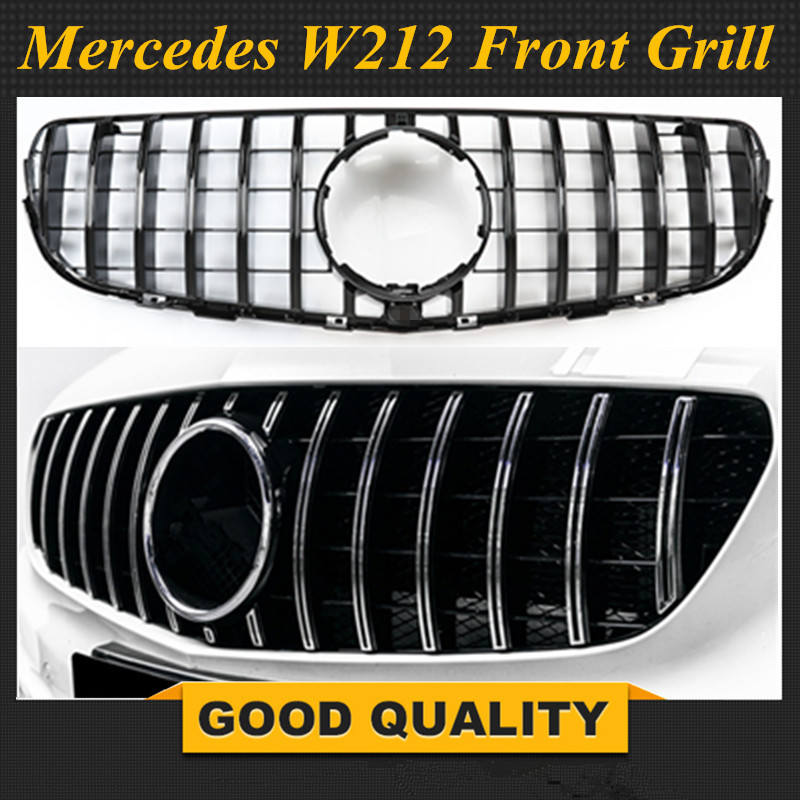 For W212 AMG GT R Grille For E Class W212 E300L E400L E200 E350 MESH Grill Radiator Without Emblem 2013 2015 Year
