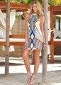 2016 Vestido de Verano Nuevo Estilo Boho Mujeres Vestido Estampado de Estilo Halter Sin Mangas Beach Party Mini Vestidos Más del Tamaño