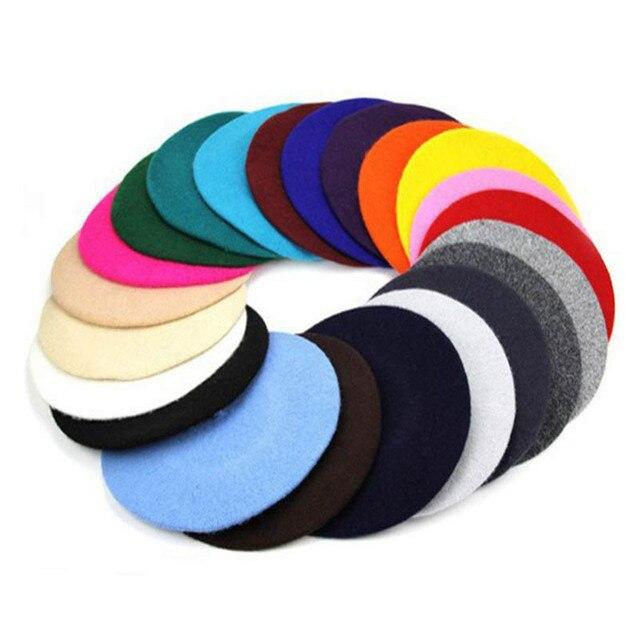 Painter style Wool Vintage Berets Solid Color Bonnet Warm Walking Hat 3