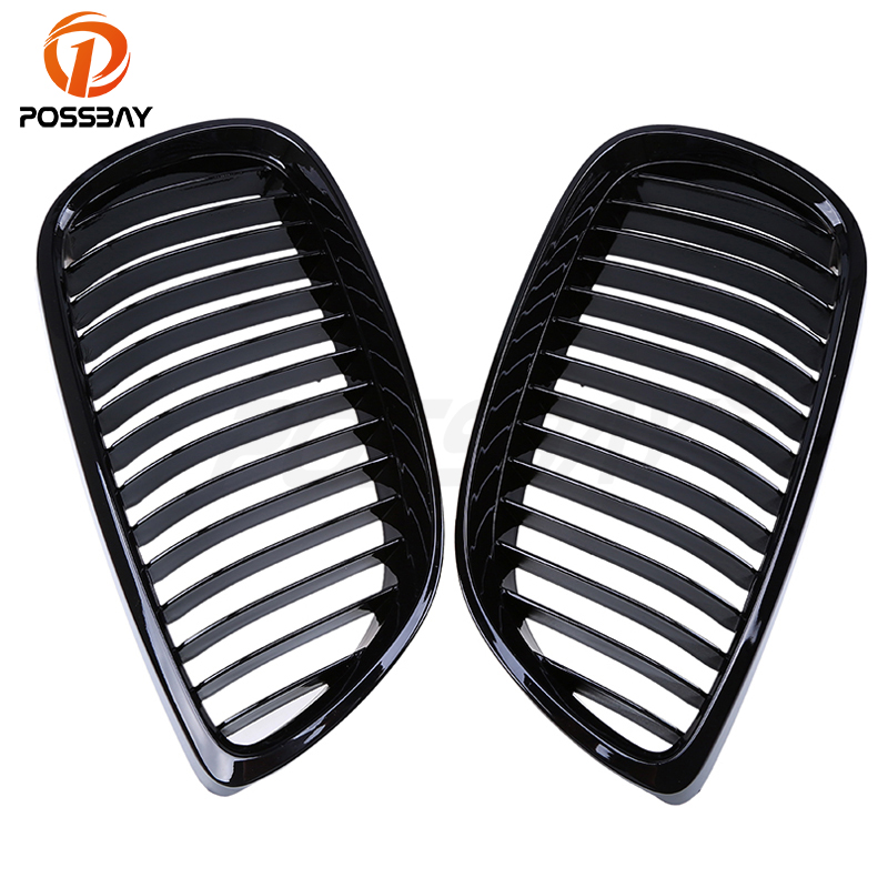 POSSBAY Shiny Gloss Black Kidney Front Bumper Center Grille For BMW 3 Series E92 Coupe M3