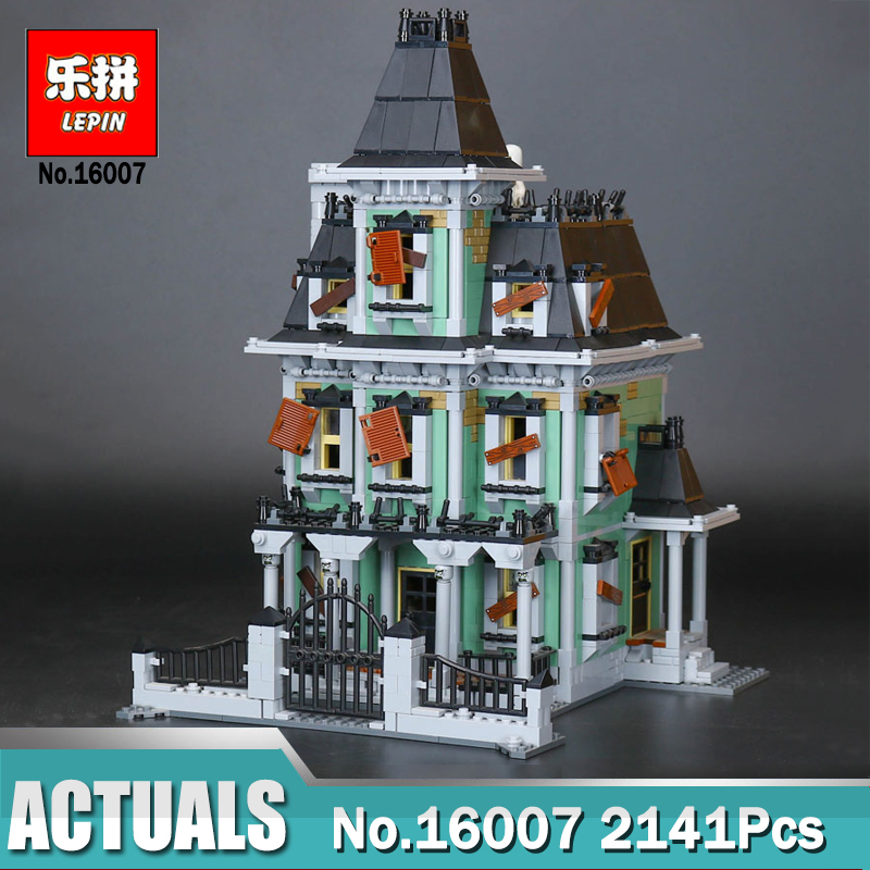 LEPIN 16007 2141Pcs Monster Fighter The Haunted House Model Set Building Blocks Model Compatible Legoing 10228 Toy For Kids Gift 2141pcs the haunted house model set building kits block toy 16007 diy monster fighter educational blocks toys for children