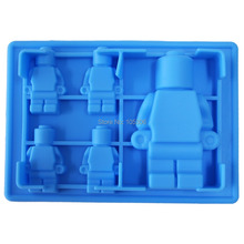 5x Silicone Robot Ice Mold Cream Tools Color Blue Tubs Cake Free Shipping