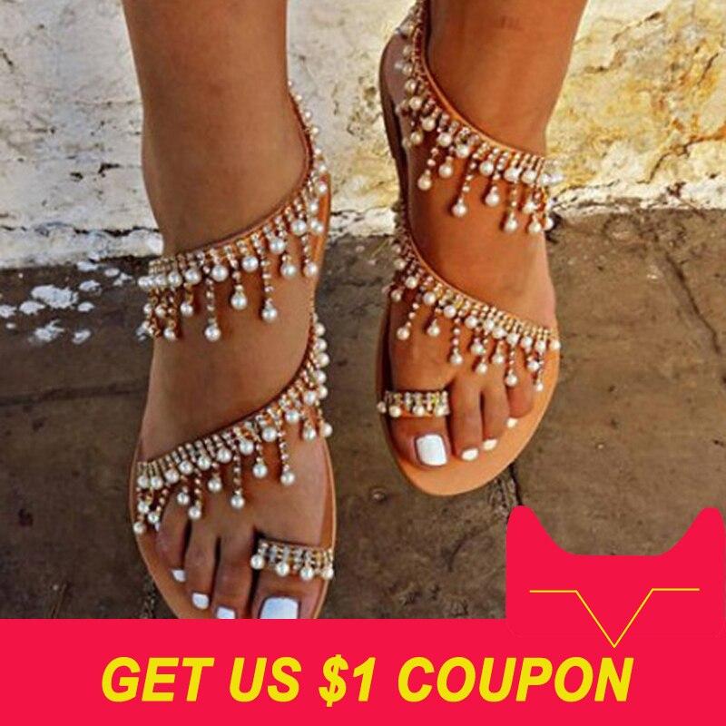 נשים סנדלי 2018 חדש קיץ נעלי פנינה שטוחה סנדלי נוח מחרוזת חרוז נעלי נשים מזדמנים סנדלי גודל 34-43