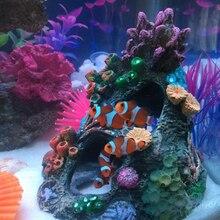 Смола коралловый риф спасательное отверстие укрытие 13,5*14*15 см для аквариума украшения и орнамент