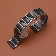 حار 20 مللي متر 22 مللي متر الفولاذ المقاوم للصدأ مع السيراميك الأسود الذكية حزام (استيك) ساعة حزام ل والعتاد S2 S3 ووتش الاكسسوارات الكلاسيكية الأسود تعزيز