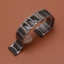 Ремешок для умных часов Gear S2 S3, из нержавеющей стали с керамикой, черного цвета, 20 мм, 22 мм