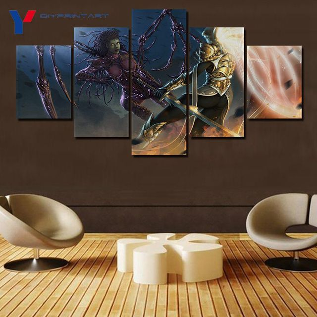 Starcrafts Diablos Characters 5 Panels Decorations for Home Game Poster Wall Painting Living Room A0985 4