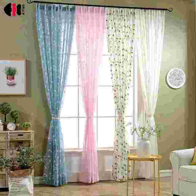 Modern White Blue Pink Green Embroidered Rattan Leaf Linen Cotton Voile Sheer Curtains For Living Room