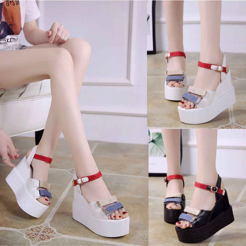 Women Wedge Sandals Summer Casual Shoes Patent Leather Peep Toe Rhinestone Platform Sandals Women Shoes Black High Heels