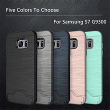 For Case Samsung Galaxy S7 Cover Brushed PC + TPU Case For Samsung Galaxy S7 Case SM-G9300 Phone Stand Card Slot For Samsung S7