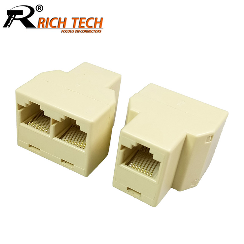 100pcs lot RJ45 Ethernet Cable Connector Splitter 8 Pin RJ45 Network Cable Adapter 1 Input to