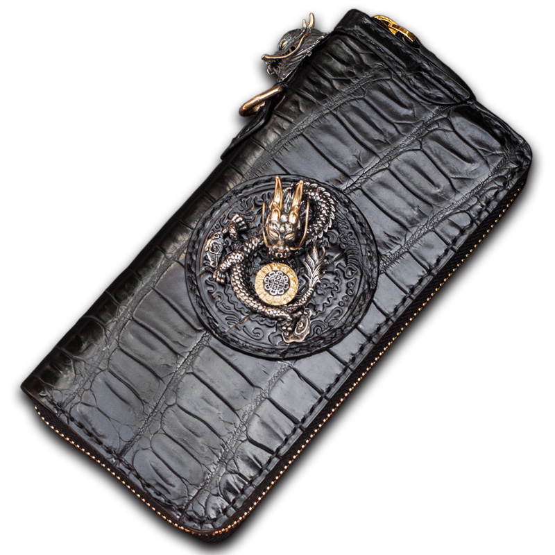 Crocodile leather men wallets panhandle gold sun three-dimensional decorative zipper wallet crocodile leather women's wallet my first eng adventure starter tb