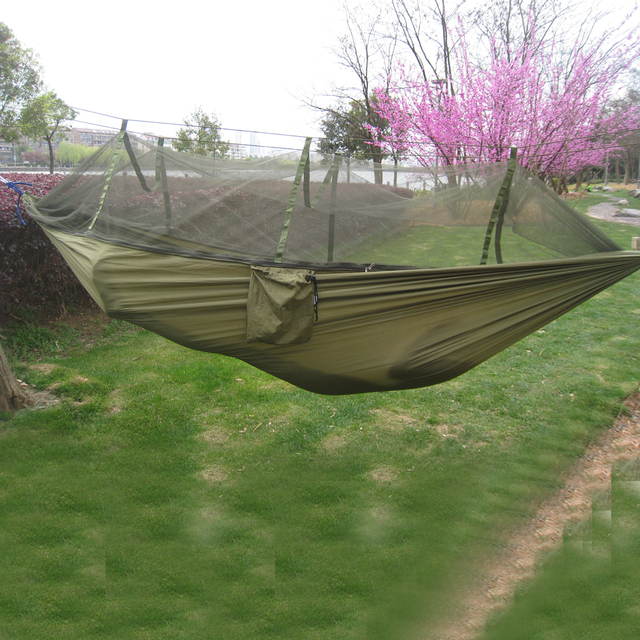 Outdoor Camping Hammock Mosquito Net Portable Travel Garden Swing Canvas Stripe Hang Bed Hammock 260*130cm