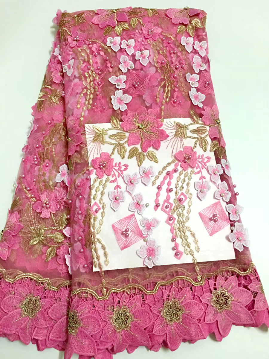 Latest Nigerian Lace Fabric 2019 High Quality Pink African Lace Fabric With Stones Lace Material For Tulle Lace African Dresses