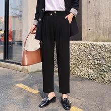 Сплошной цвет гарем брюки женщины офис леди пр кнопки высокой талией брюки осень свободного покроя