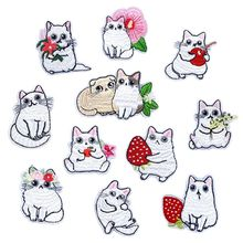 Cartoon Fruit Animal Cats Patches for Kids Clothes Iron on Appliques DIY Stripes Embroidery Stickers Sew Cute Flowers Badge
