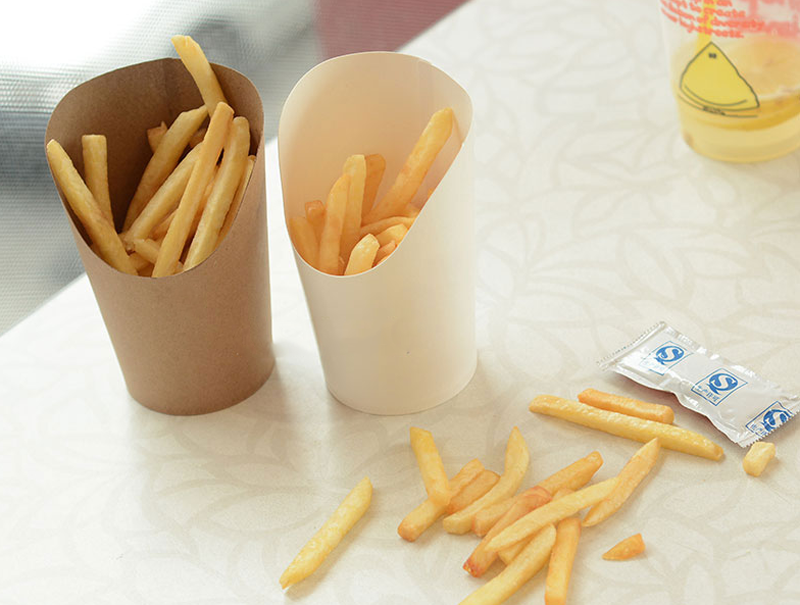 100pcs/lot 12oz /16oz Disposable kraft paper cup French fries Fried chicken Snack boxes DIY baking packing cup