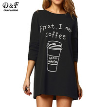 Dotfashion Black Round Neck Long Sleeve Coffee Print Long Tees Women Casual Tops 2016 New Style T-Shirt