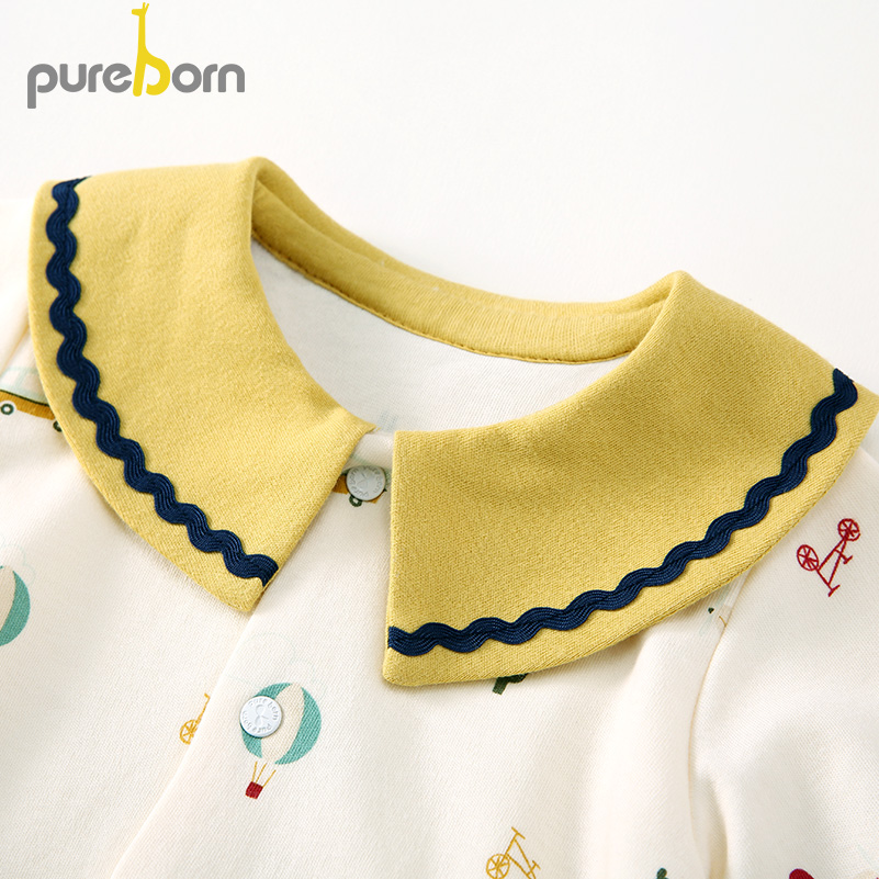 Pureborn Newborn Baby Girl Romper Colorful Printed Baby Girl Jumpsuit Breathable Cotton Baby Girl Clothes Spring Pajamas