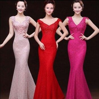 2019 Free shipping Red Lace V-neck Party Gowns Formal Long Evening dresses vestido de festa  abiti da sera robe de soiree TK765