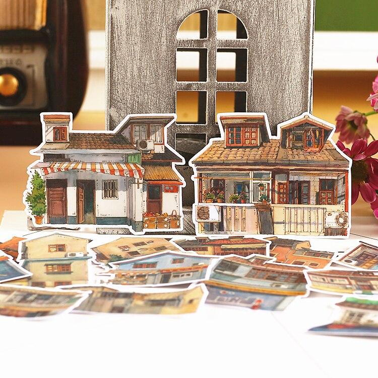 15pcs Creative Cute Kawaii Self-made Retro House Scrapbooking Stickers /decorative Sticker /DIY Craft Photo Albums