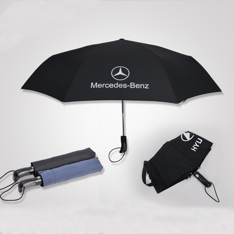 Famous Brand Car Logo Printed Big Size Umbrellas Double Layers Windproof 3 Fold