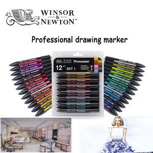 Image 2 - WINSOR & NEWTON двойной наконечник на спиртовой основе, двухсторонний тонкий/косой наконечник, маркер для художников, принадлежности для рисования