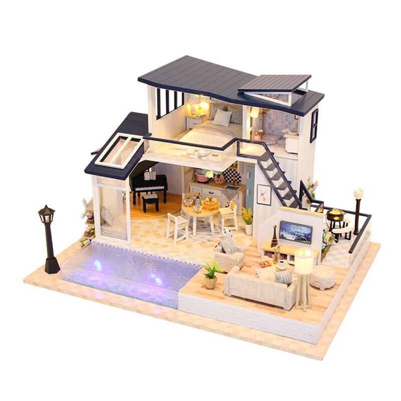 Bricolage maison de poupée assembler des Kits 3D en bois Miniature maison de poupée avec Led meubles en bois maison jouet pour enfants cadeau d'anniversaire 13849