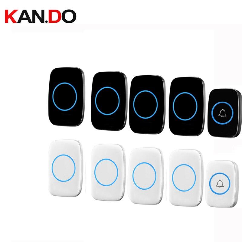 With 4 Receivers Bell Sets Wireless Door Bell Set By 110-220V Wireless Doorbell Ip44  300M Door Chime Door Ring For Villa