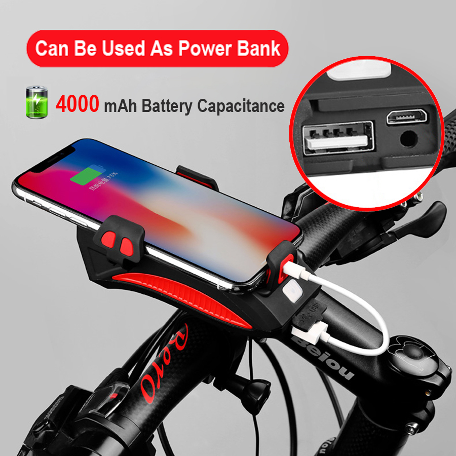 Excellent NEWBOLER 4 in 1 Bicycle Light Power Bank 4000mAh Flashlight Bike Horn Alarm Bell Phone Holder Bike Accessories Cycle Front Light 2