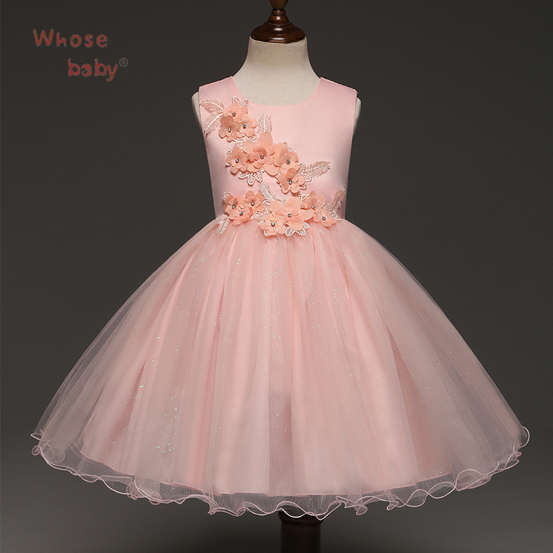 Kids Dresses For Girls Lace Flower Girl Dress 2017 New Princess Party Wedding Dress Fashion Baby Formal Evening Children Clothes red new summer flower kids party dresses for weddings formal princess girl evening prom sleeveless girl bow mesh dress clothes