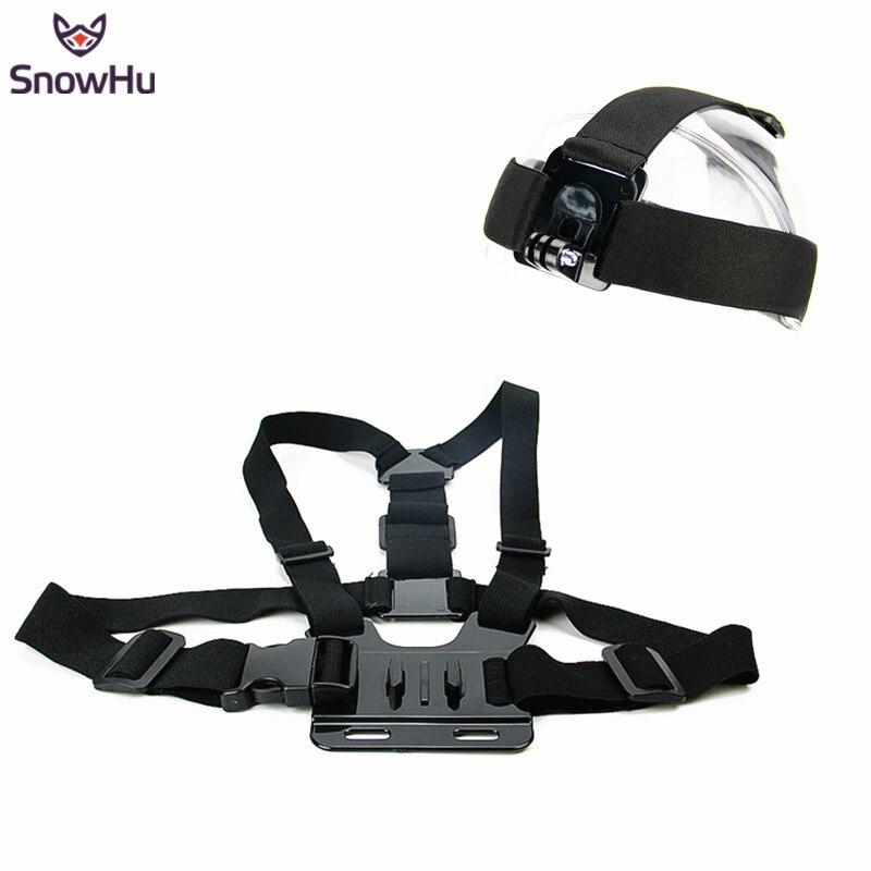 SnowHu para GoPro para Xiaomi YI elástico correa de cabeza ajustable y cinturón de cinturón Kit de montaje para cámara de deportes serie acción