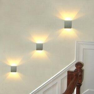 Image 1 - 3 יח\חבילה כיכר Led קיר מנורת מנורות קיר Led קיר אור arandelas para פארדה אלומיניום 3 W 110 V 220 V KTV בר שלב מדרגות מבואה JQ
