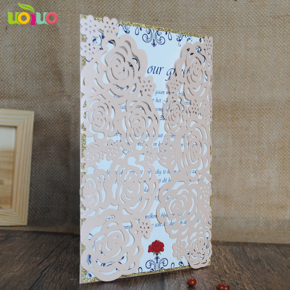 30 Laser Cut Rose Flower Birthday invitations card meeting party ...