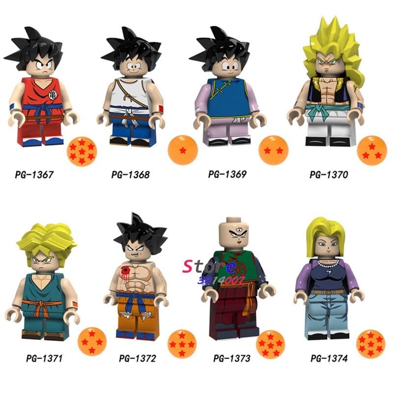 50pcs Building Blocks Dragon Ball Z Goku Gotenks Torankusu Tien Shinhan Android 18 Lazuli Collection for