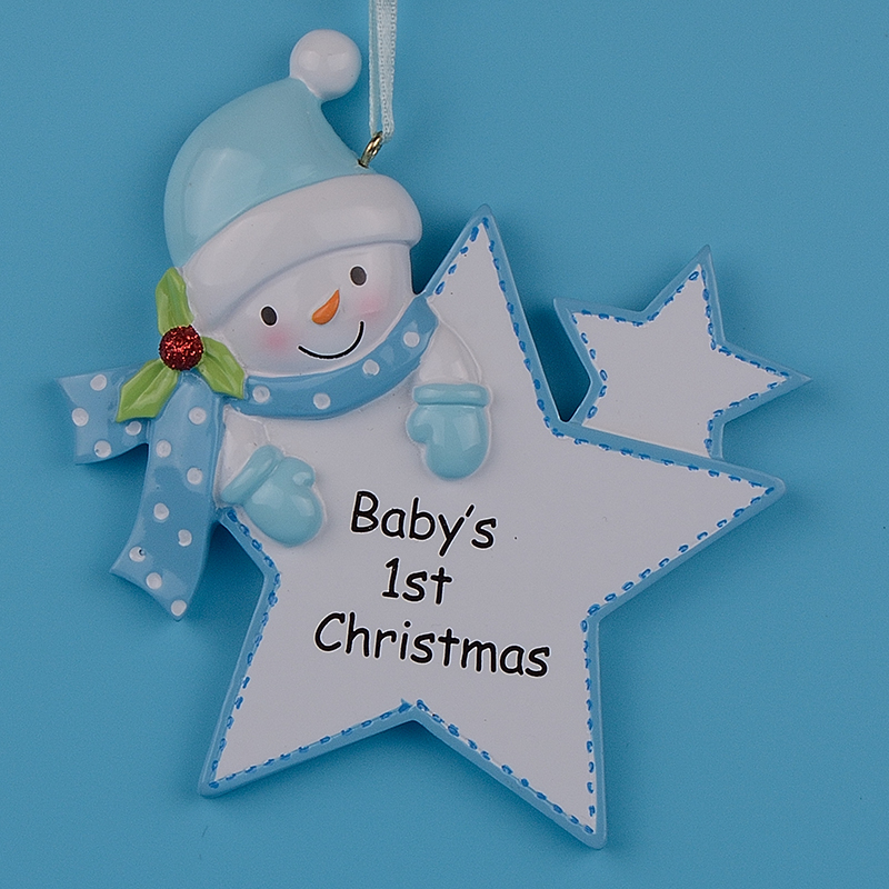 Blue Boy Star Baby 1st Gifts Polyresin Fai da te Personalized Christmas Tree Ornaments per la festa di Capodanno regalo decorazione della casa