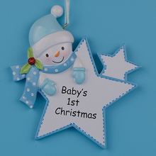 Blue Boy Star  Baby 1st  Gifts Polyresin Diy Personalized Christmas Tree Ornaments For Holiday New Year Gift Home Decoration